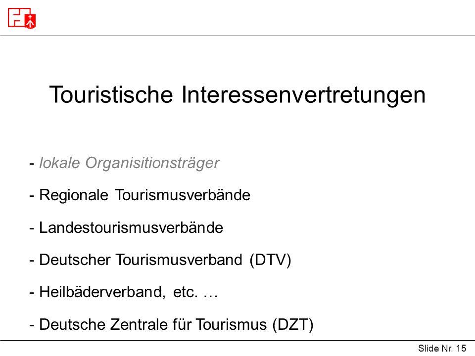 Touristische Interessenvertretungen