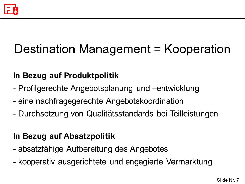 Destination Management = Kooperation