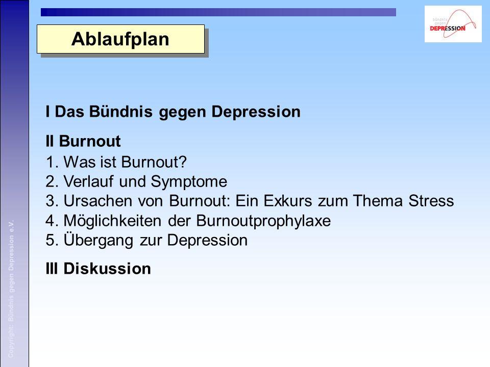 Ablaufplan I Das Bündnis gegen Depression II Burnout