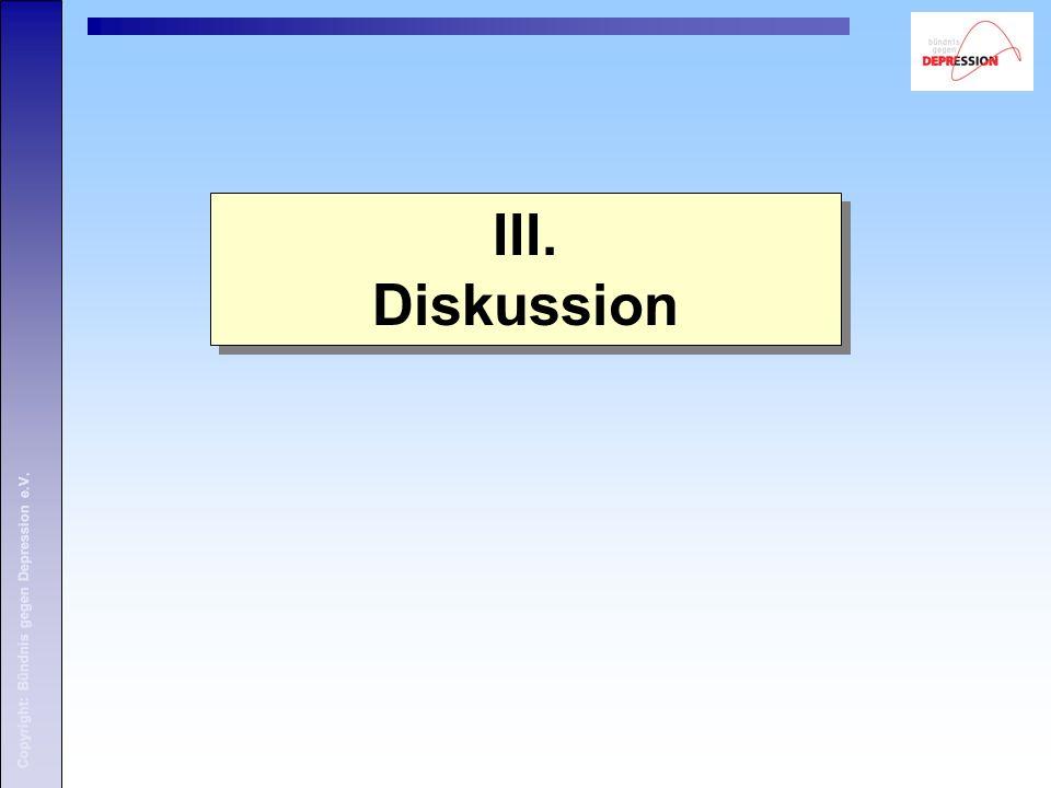 III. Diskussion Copyright: Bündnis gegen Depression e.V.