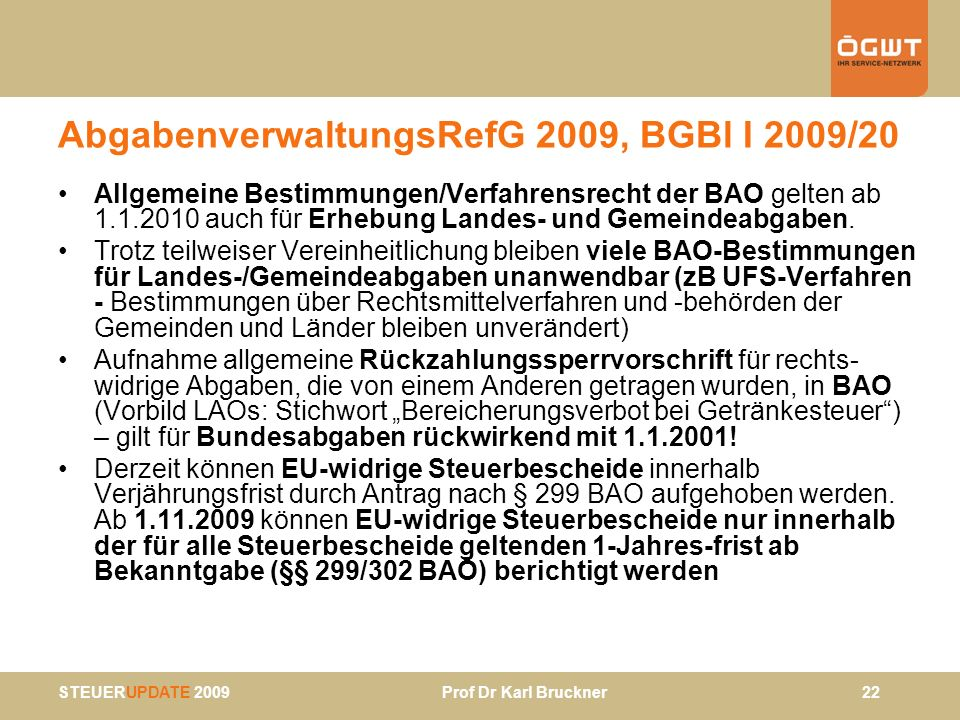 AbgabenverwaltungsRefG 2009, BGBl I 2009/20