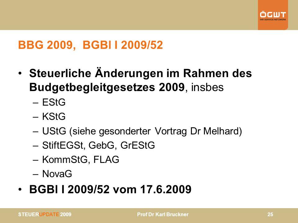BBG 2009, BGBl I 2009/52 Steuerliche Änderungen im Rahmen des Budgetbegleitgesetzes 2009, insbes. EStG.