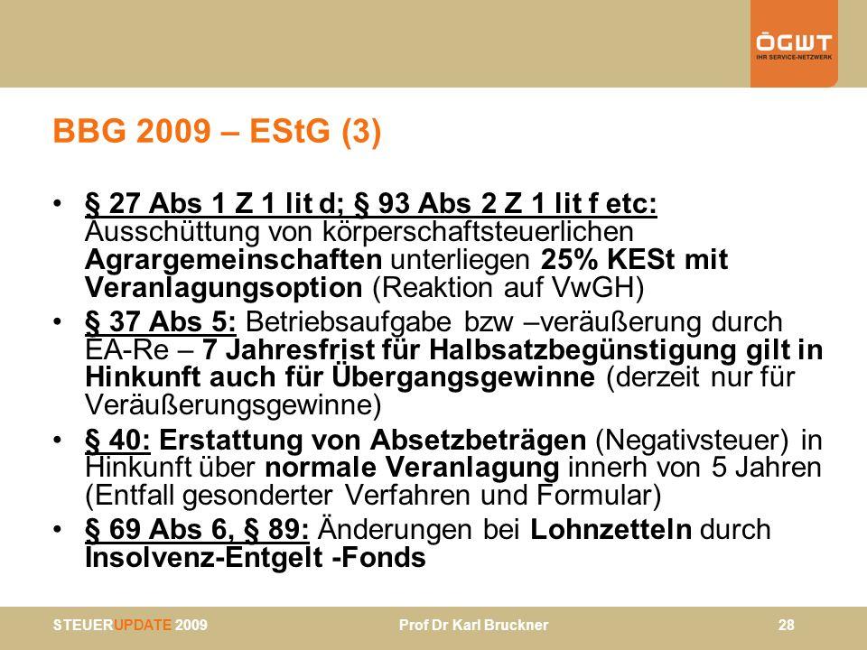 BBG 2009 – EStG (3)