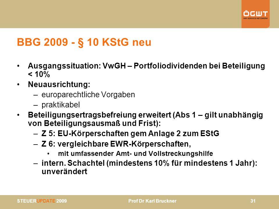 BBG 2009 - § 10 KStG neu Ausgangssituation: VwGH – Portfoliodividenden bei Beteiligung < 10% Neuausrichtung: