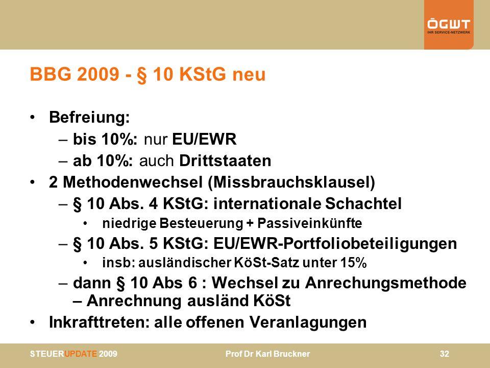BBG 2009 - § 10 KStG neu Befreiung: bis 10%: nur EU/EWR