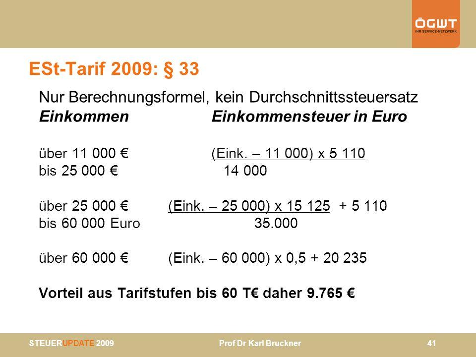 ESt-Tarif 2009: § 33 Nur Berechnungsformel, kein Durchschnittssteuersatz. Einkommen Einkommensteuer in Euro.