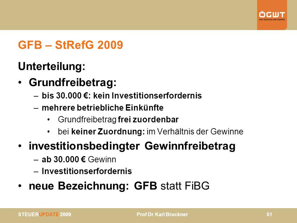 GFB – StRefG 2009 Unterteilung: Grundfreibetrag: