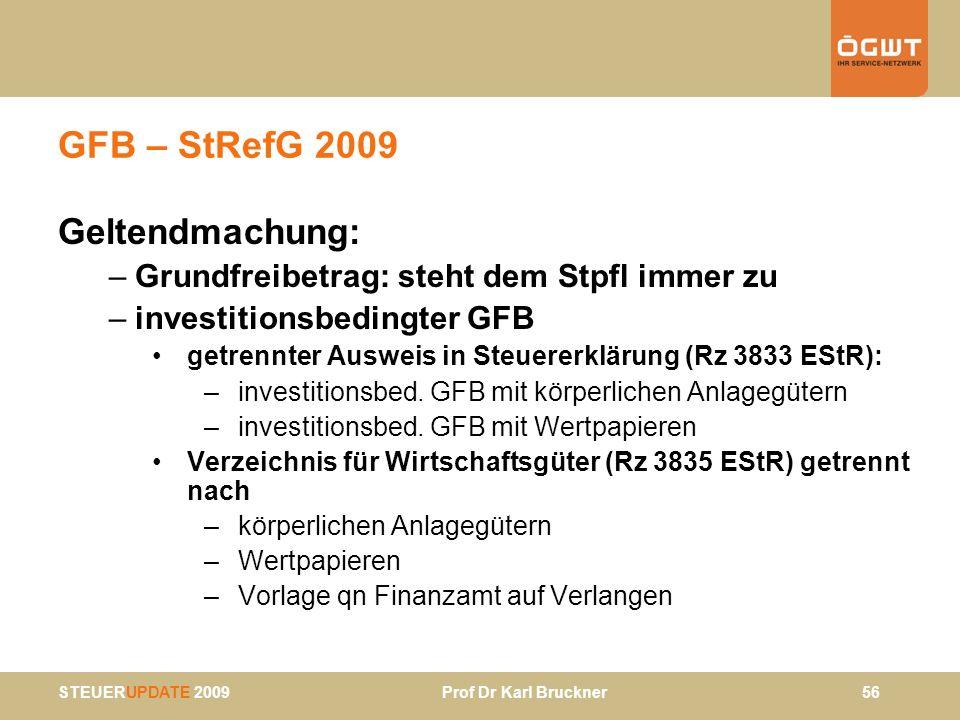 GFB – StRefG 2009 Geltendmachung: