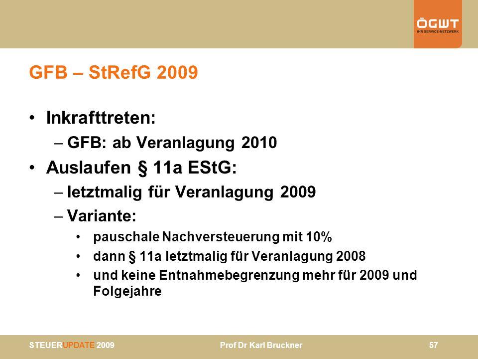 GFB – StRefG 2009 Inkrafttreten: Auslaufen § 11a EStG: