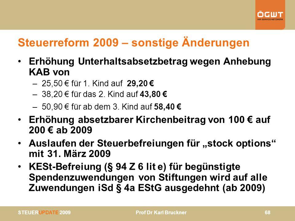 Steuerreform 2009 – sonstige Änderungen