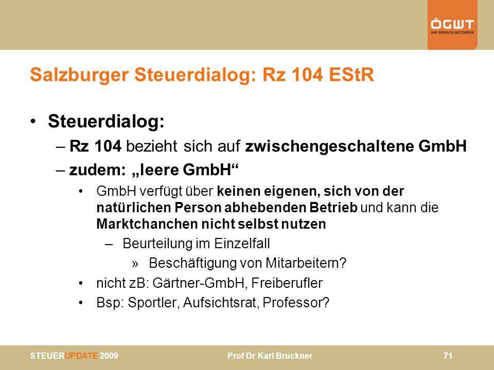Salzburger Steuerdialog: Rz 104 EStR
