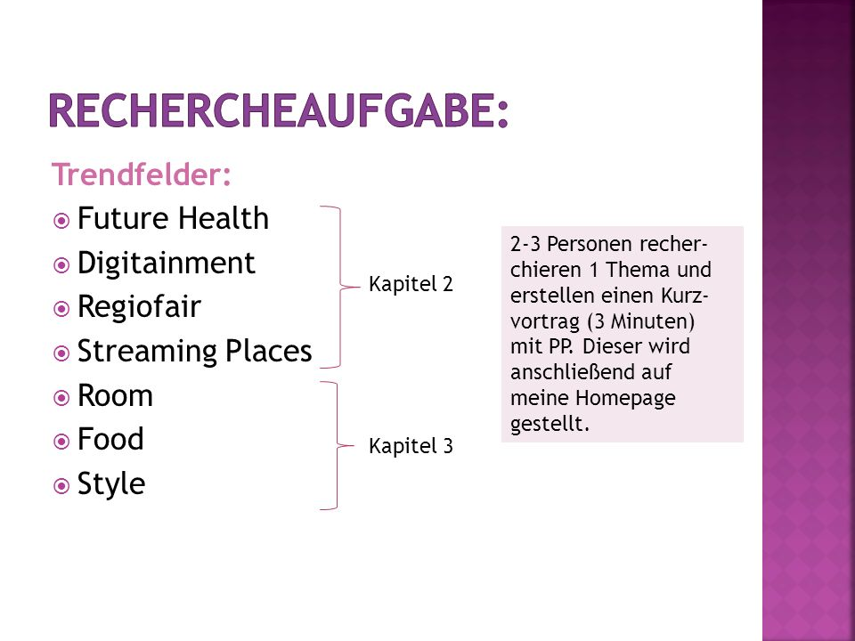 Rechercheaufgabe: Trendfelder: Future Health Digitainment Regiofair