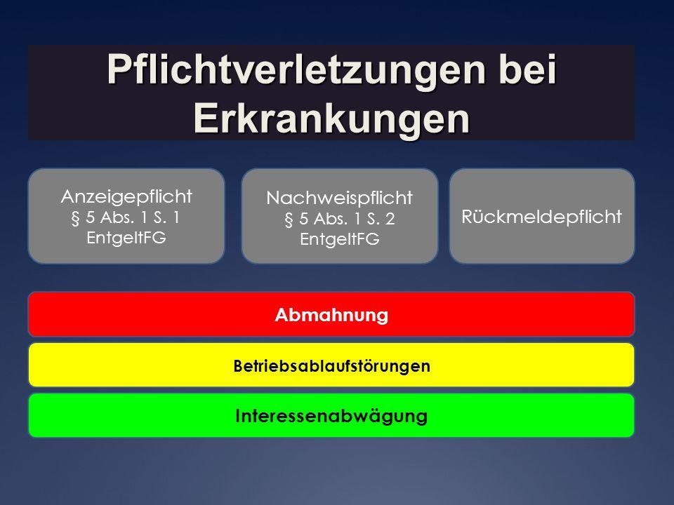 Pflichtverletzungen bei Erkrankungen Betriebsablaufstörungen