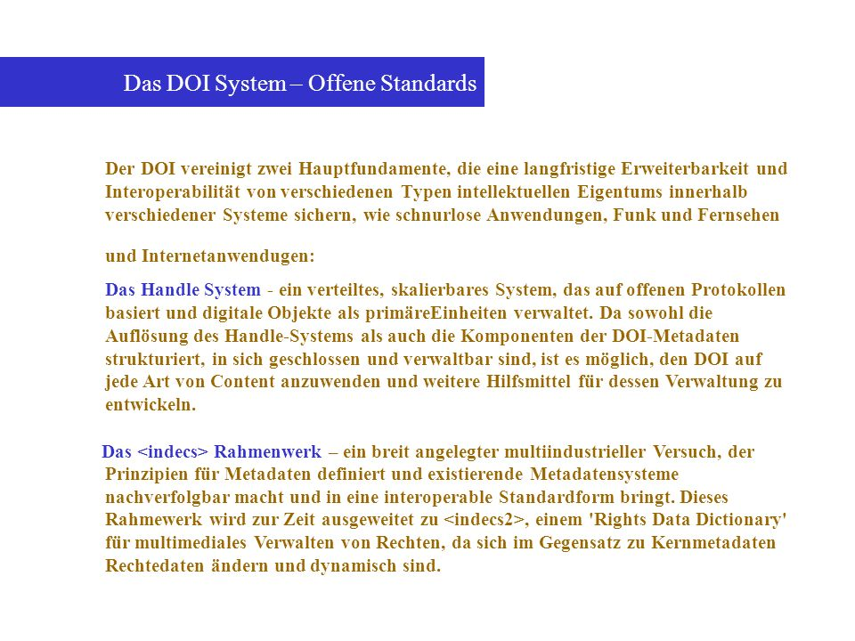 Das DOI System – Offene Standards