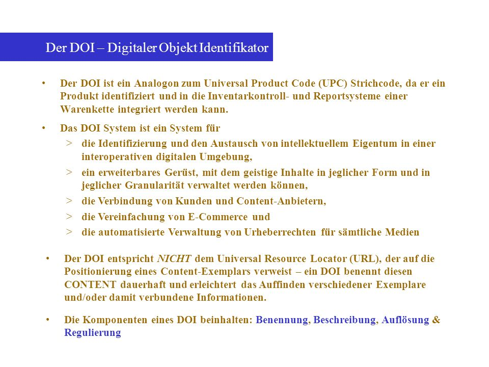 Der DOI – Digitaler Objekt Identifikator