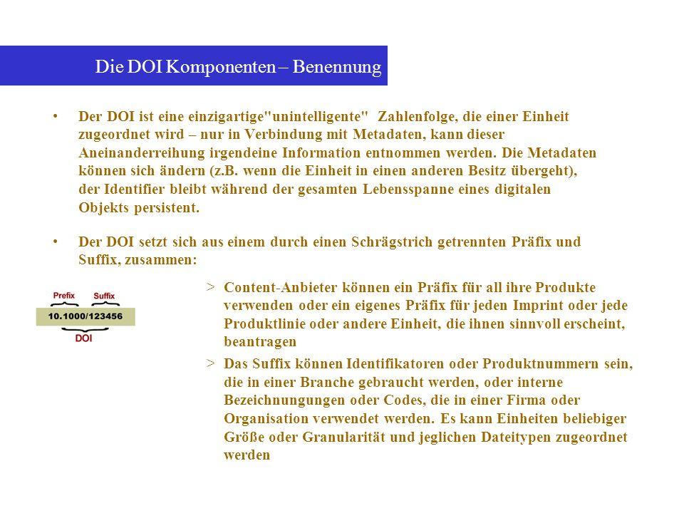Die DOI Komponenten – Benennung