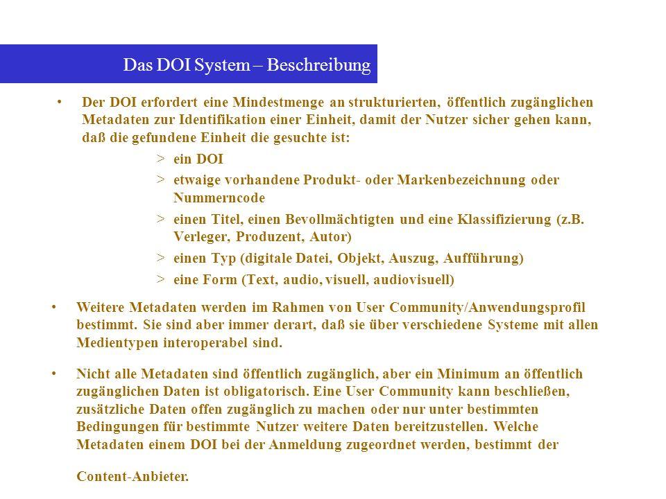 Das DOI System – Beschreibung