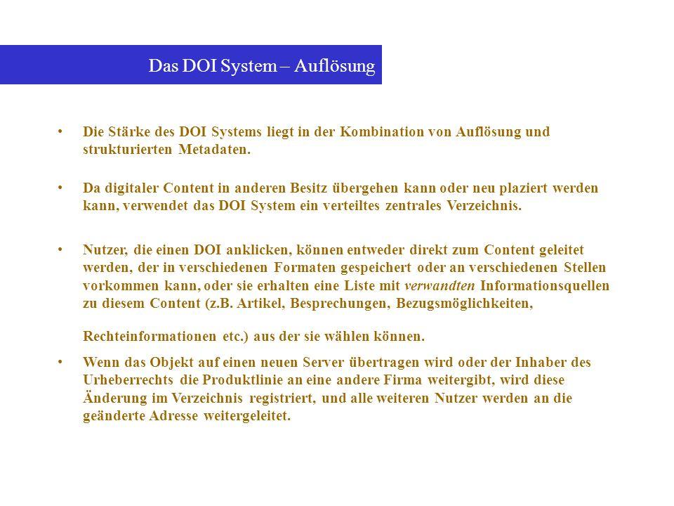 Das DOI System – Auflösung