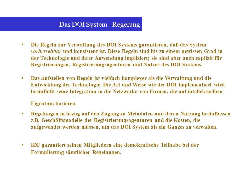Das DOI System - Regelung