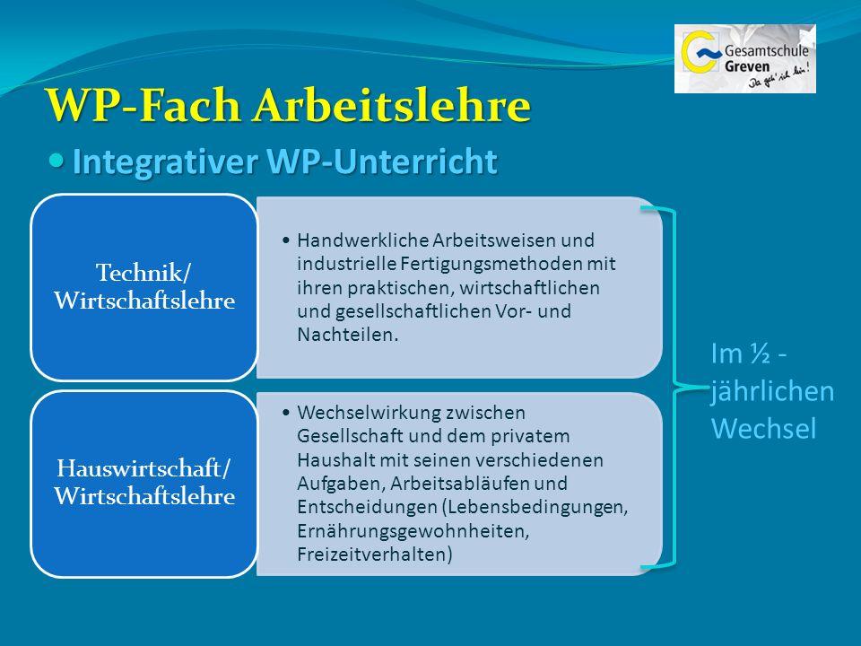 WP-Fach Arbeitslehre Integrativer WP-Unterricht