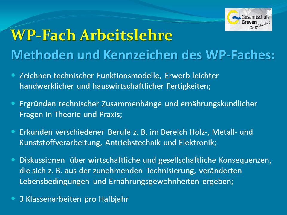 WP-Fach Arbeitslehre Methoden und Kennzeichen des WP-Faches: