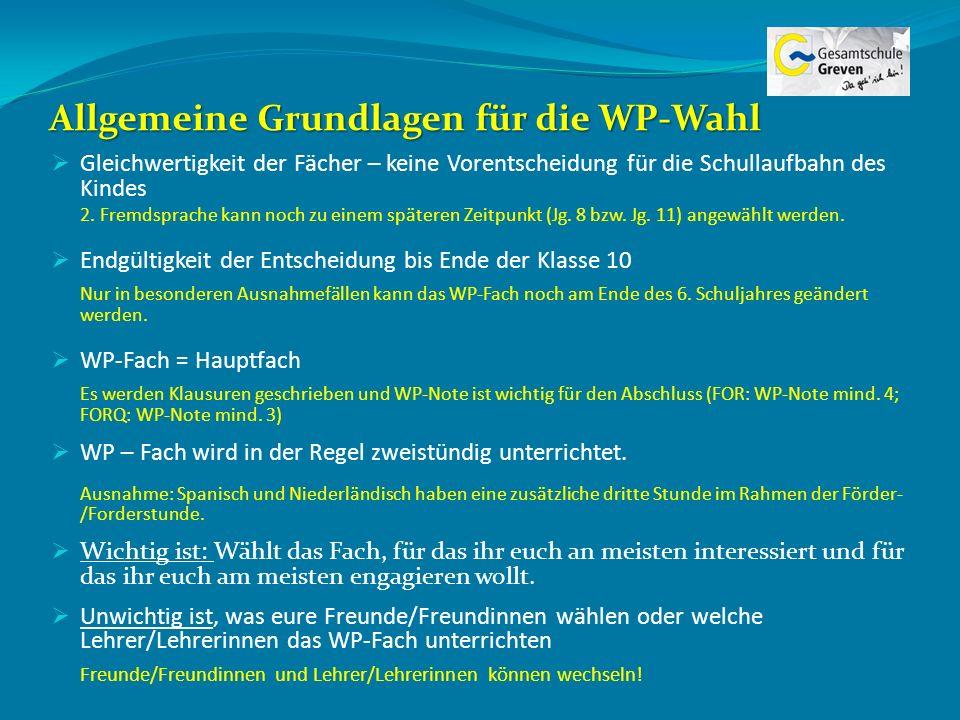 Allgemeine Grundlagen für die WP-Wahl