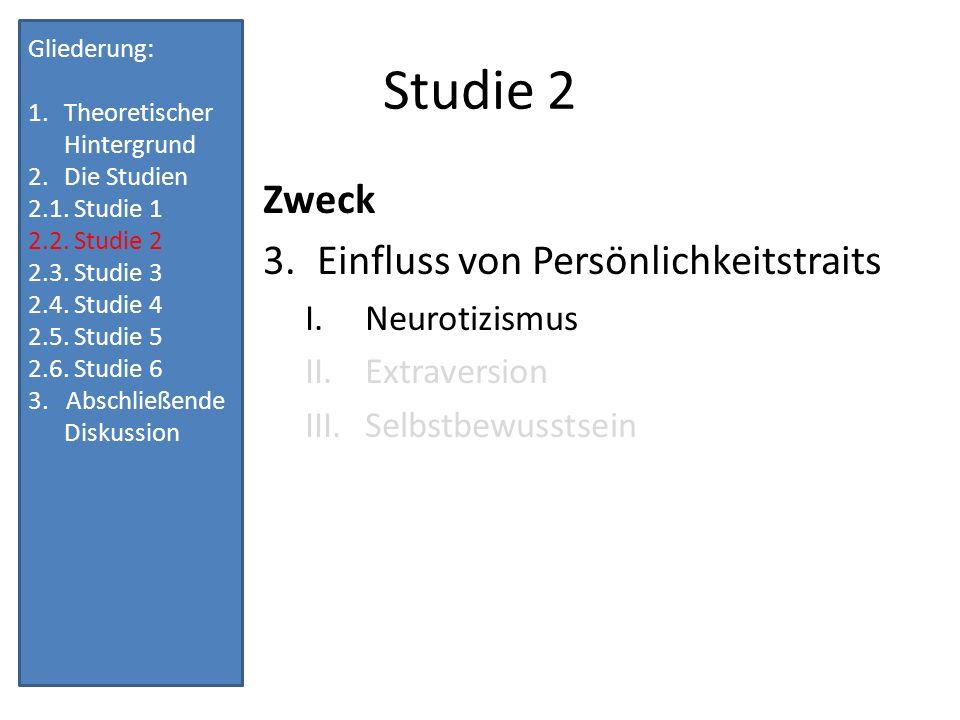 Studie 2 Zweck Einfluss von Persönlichkeitstraits Neurotizismus