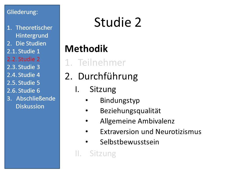 Studie 2 Methodik Teilnehmer Durchführung Sitzung Bindungstyp