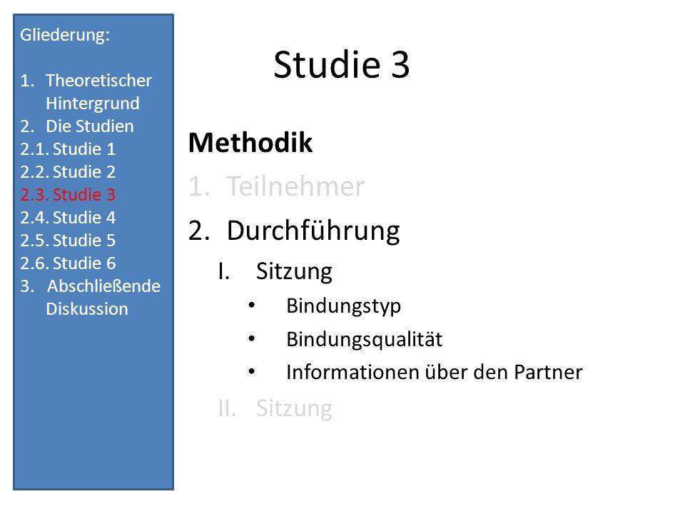 Studie 3 Methodik Teilnehmer Durchführung Sitzung Bindungstyp