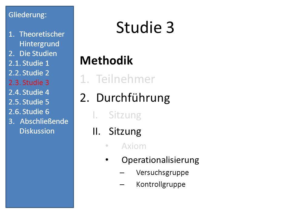 Studie 3 Methodik Teilnehmer Durchführung Sitzung Axiom