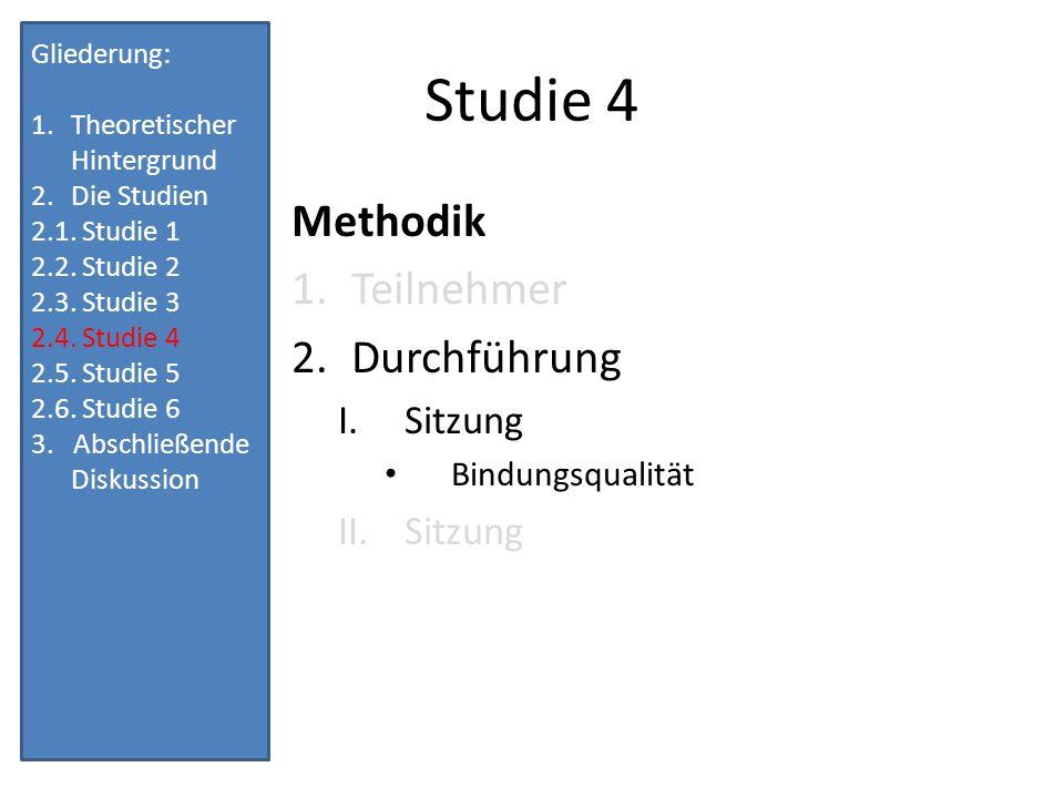 Studie 4 Methodik Teilnehmer Durchführung Sitzung Bindungsqualität