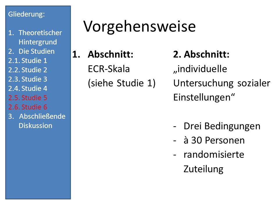 Vorgehensweise Abschnitt: ECR-Skala (siehe Studie 1) 2. Abschnitt: