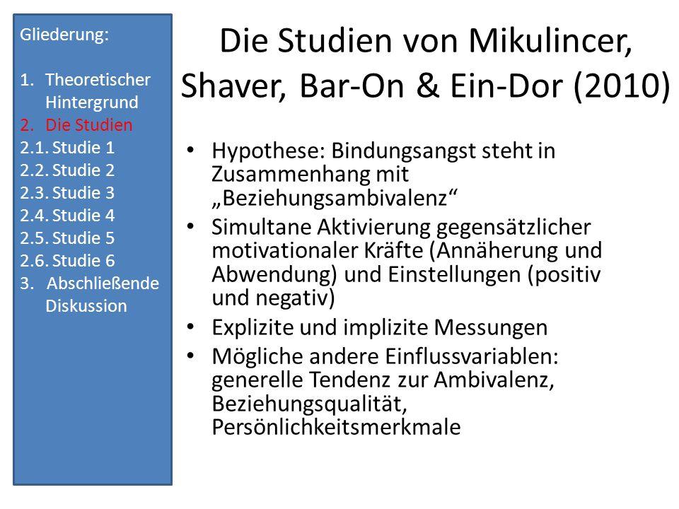 Die Studien von Mikulincer, Shaver, Bar-On & Ein-Dor (2010)