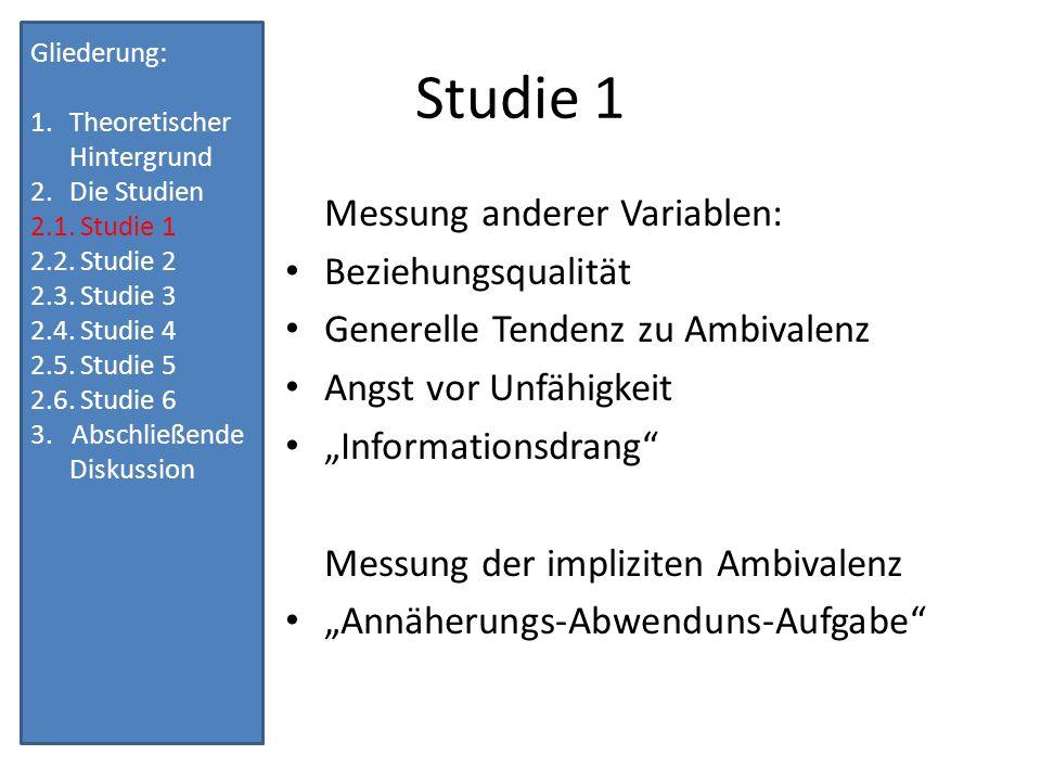 Studie 1 Messung anderer Variablen: Beziehungsqualität