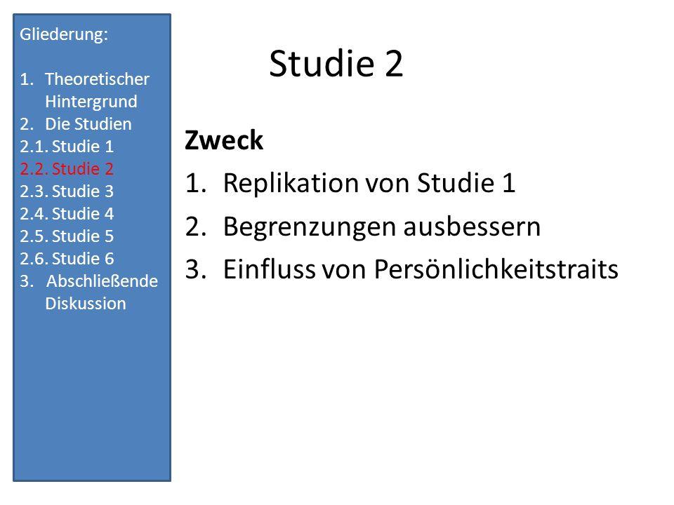 Studie 2 Zweck Replikation von Studie 1 Begrenzungen ausbessern