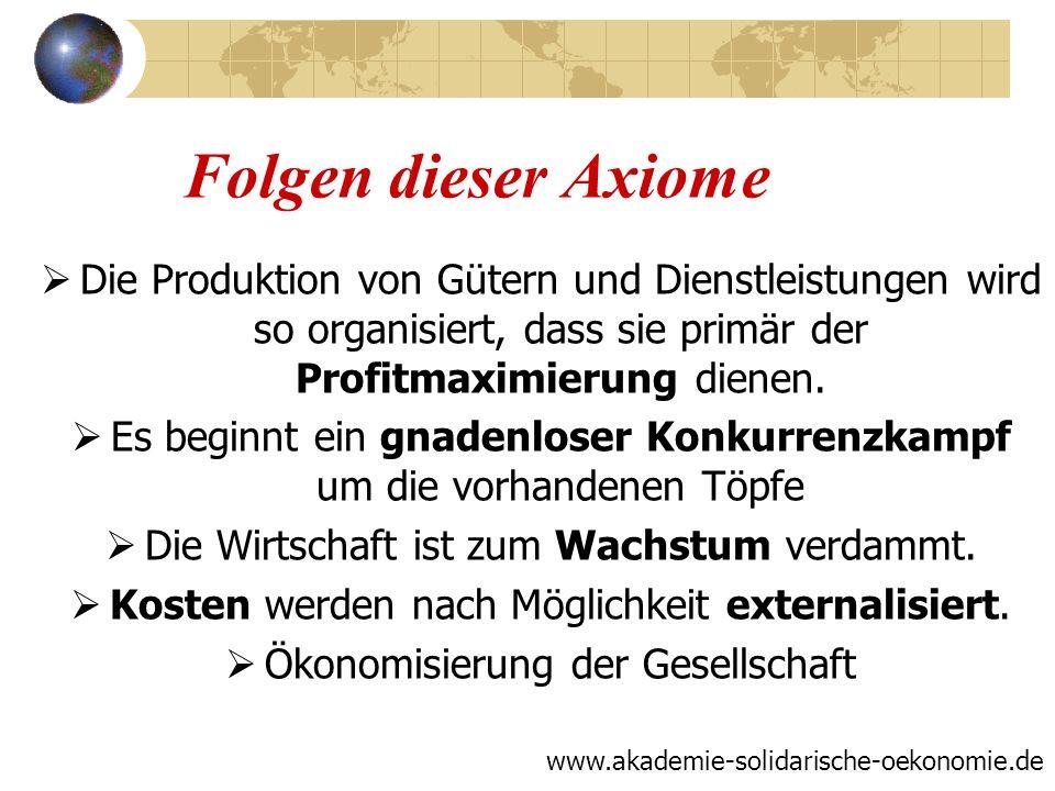Folgen dieser Axiome Die Produktion von Gütern und Dienstleistungen wird so organisiert, dass sie primär der Profitmaximierung dienen.