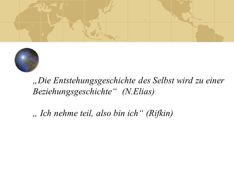 """""""Die Entstehungsgeschichte des Selbst wird zu einer Beziehungsgeschichte (N.Elias) """" Ich nehme teil, also bin ich (Rifkin)"""