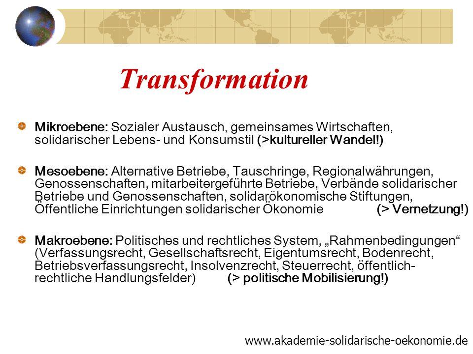 Transformation Mikroebene: Sozialer Austausch, gemeinsames Wirtschaften, solidarischer Lebens- und Konsumstil (>kultureller Wandel!)