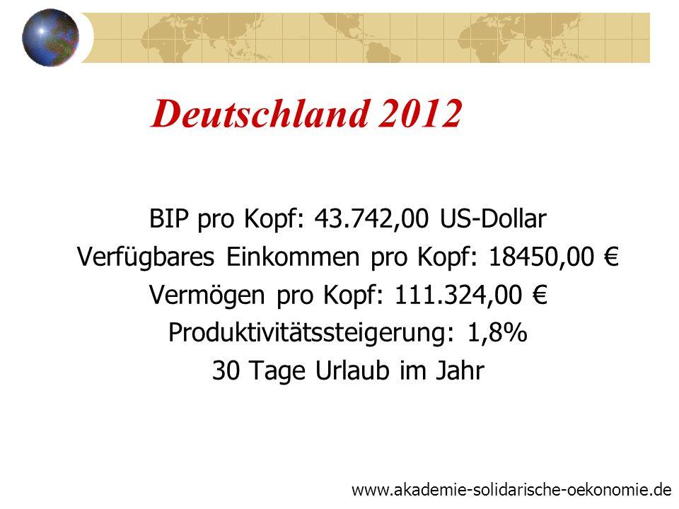 Deutschland 2012 BIP pro Kopf: 43.742,00 US-Dollar