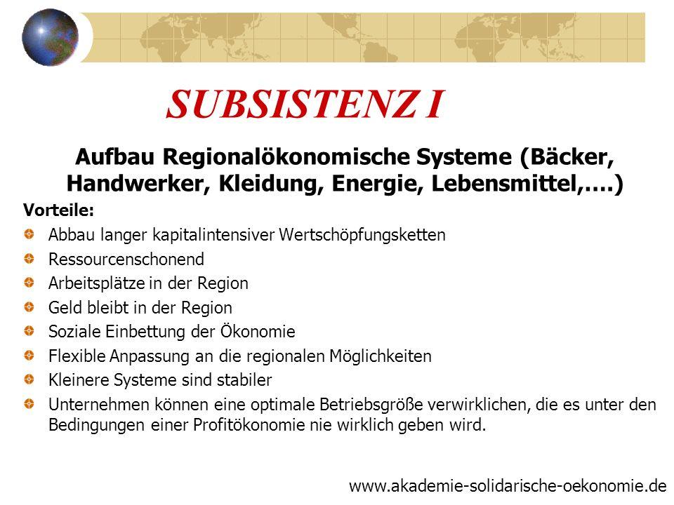 SUBSISTENZ I Aufbau Regionalökonomische Systeme (Bäcker, Handwerker, Kleidung, Energie, Lebensmittel,….)
