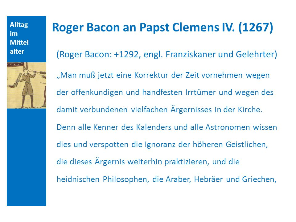 Roger Bacon an Papst Clemens IV. (1267)