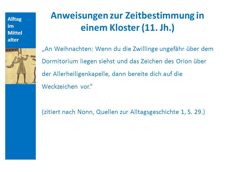 Anweisungen zur Zeitbestimmung in einem Kloster (11. Jh.)