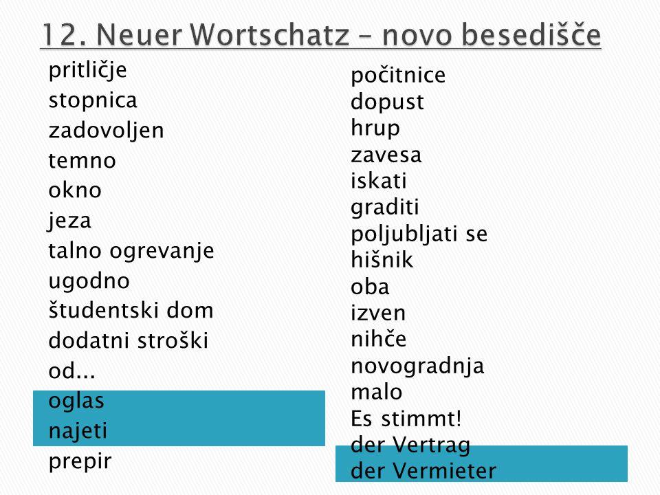 12. Neuer Wortschatz – novo besedišče