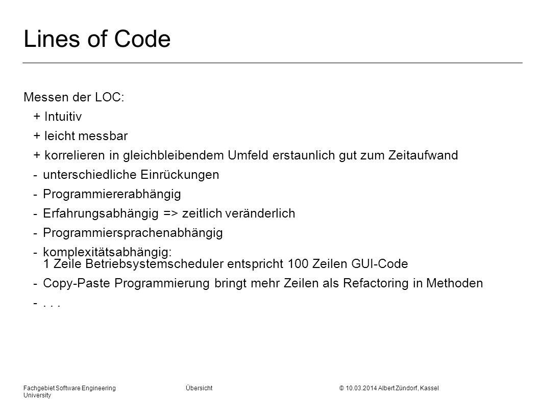 Lines of Code Messen der LOC: + Intuitiv + leicht messbar