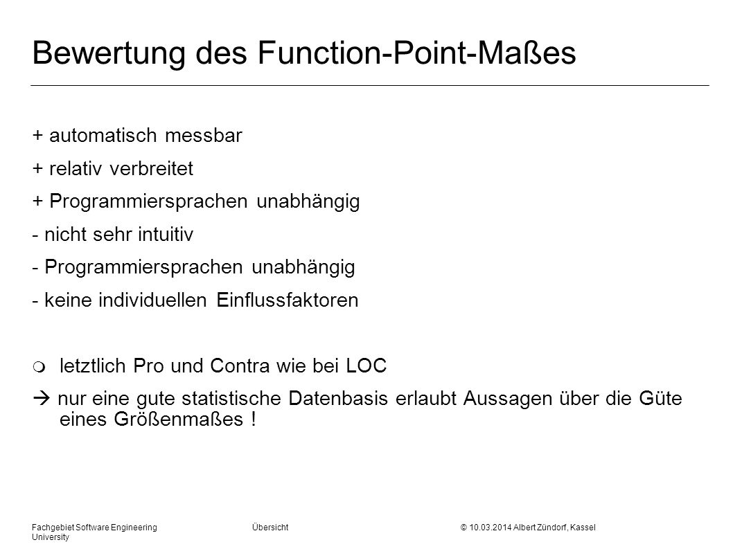 Bewertung des Function-Point-Maßes