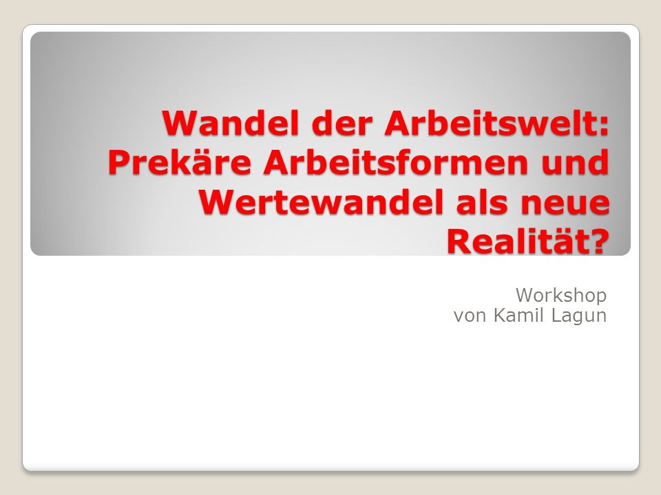 Workshop von Kamil Lagun