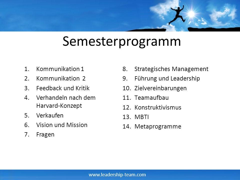 Semesterprogramm Kommunikation 1 Kommunikation 2 Feedback und Kritik