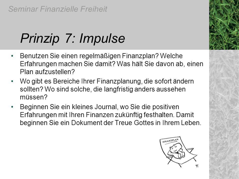 Prinzip 7: Impulse Benutzen Sie einen regelmäßigen Finanzplan Welche Erfahrungen machen Sie damit Was hält Sie davon ab, einen Plan aufzustellen
