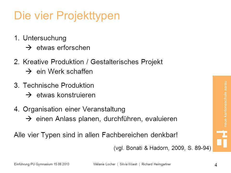 Die vier Projekttypen Untersuchung etwas erforschen