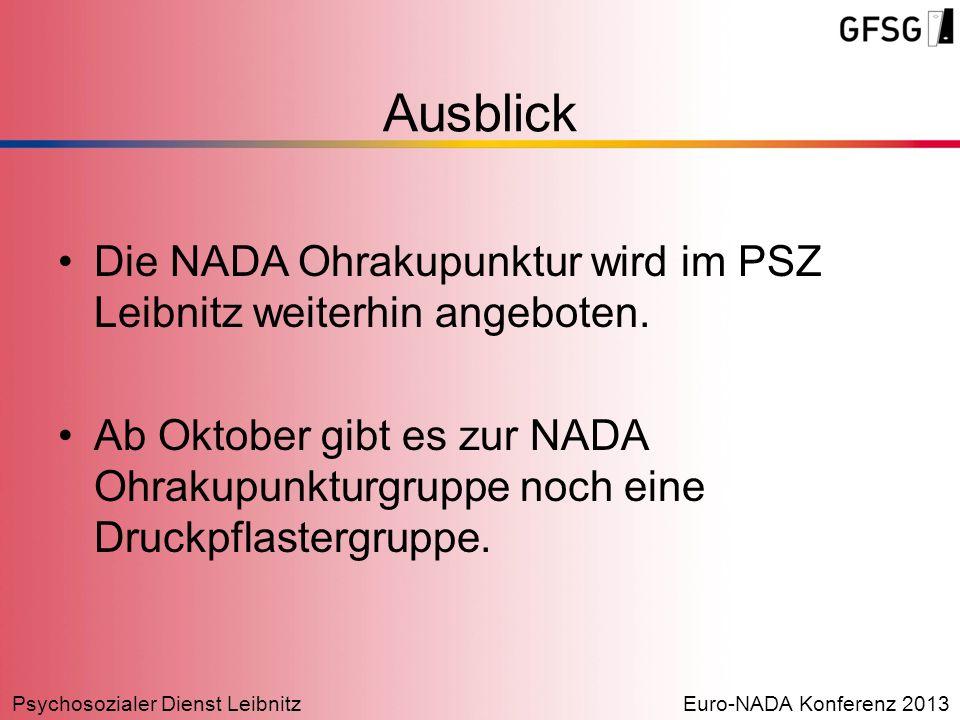 Ausblick Die NADA Ohrakupunktur wird im PSZ Leibnitz weiterhin angeboten.